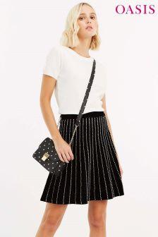 55fc235c3f3d Oasis Black Julia Line And Dot Knit Skirt