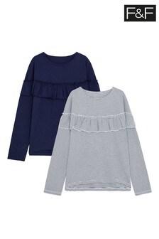F&F Navy/Stripe Frill T-Shirts 2 Pack