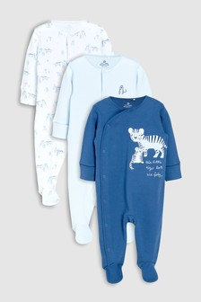 Tiger Character Embroidered Sleepsuits Three Pack (0mths-2yrs)