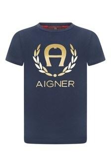 Boys Navy Cotton Logo T-Shirt