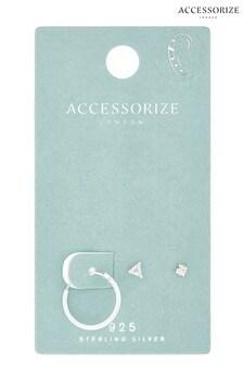 Accessorize Sterling Silver Sparkle Earrings Set