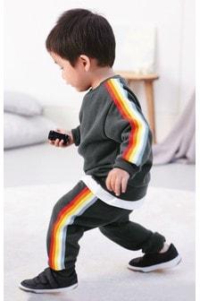 Juego de pantalones de chándal y sudadera con cuello redondo con rayas de arcoíris (3 meses-7 años)