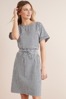 Gingham Tie Waist Dress