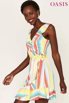 Oasis Cream Rainbow Stripe Tea Dress