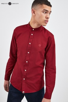 Pretty Green Red Collarless Oxford Shirt