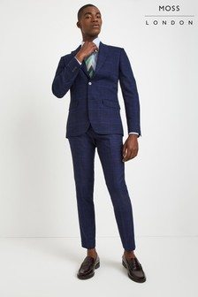 Moss London Skinny Fit Blue Bold Check Trouser