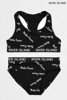 River Island Monochrome Racer Back Bralette Underwear Set