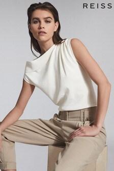 Reiss White Mila Asymmetric Fine Knit Top