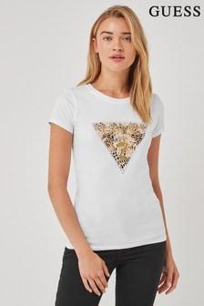 Guess White Leopard Logo T-Shirt