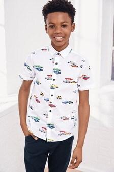 Рубашка с коротким рукавом и машинками (3-16 лет)