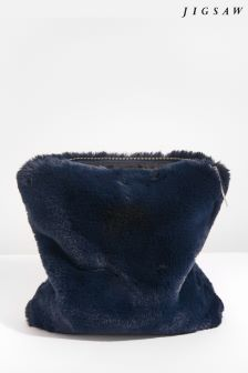 Jigsaw Navy Faux Fur Zip Top Clutch