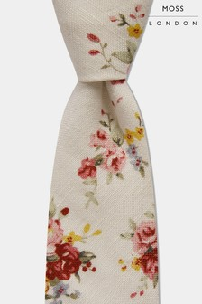 Moss London Ecru With Pink Rose Print Tie