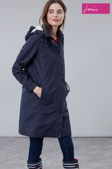 Joules Blue Headland A-Line Raincoat With Removable Hood