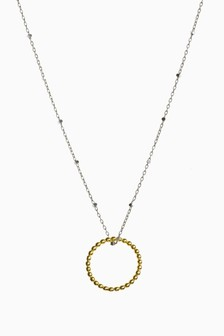 Sterling Silver Bead Detail Circle Necklace