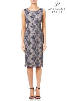 Adrianna Papell Blue Beaded Short Dress