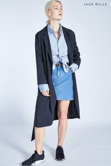 Jack Wills Navy Malmsbury Fluid Belted Trench