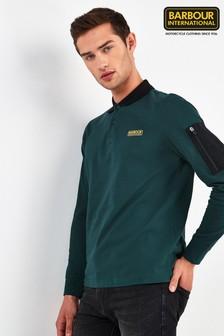 Barbour® International綠色Combine長袖Polo衫