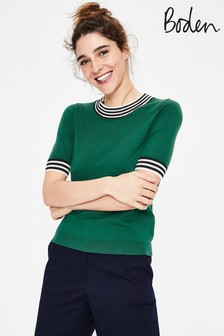 Boden Green Colour Detail Knitted Tee