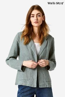 White Stuff Green Gowan Linen Blazer