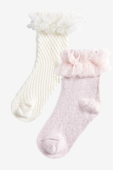 2 Pack Pretty Frill Socks (Younger)