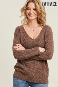 FatFace Brown Heather V-Neck Jumper