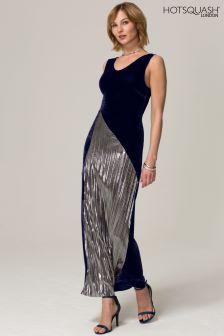 HotSquash Navy Velvet Pleat Maxi Dress