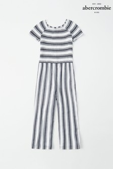 Abercrombie & Fitch Black/White Smocked Jumpsuit