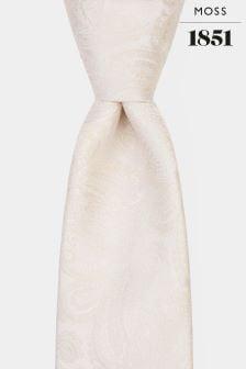 Moss 1851 Cream Paisley Tie
