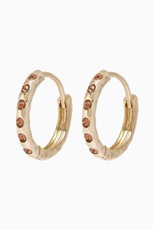 18 Carat Gold Plated Pave Stone Hoop Earrings