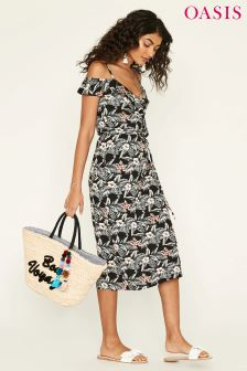 Oasis Black Havana Ruffle Wrap Midi Dress