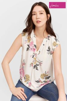 Joules Cream Jae Chinoise Sleeveless Pop Over Top