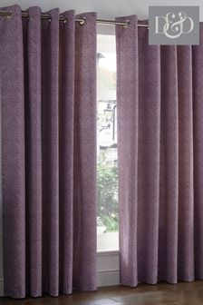 D&D Purple Hanworth Leaves Lined Eyelet Curtains