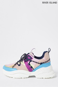 River Island Purple Panelled Chunky Lace-Up Shoes