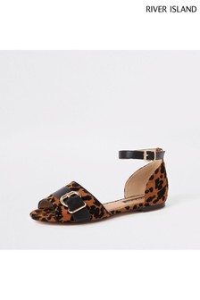 River Island Leopard Print Two Part Heel Sandal