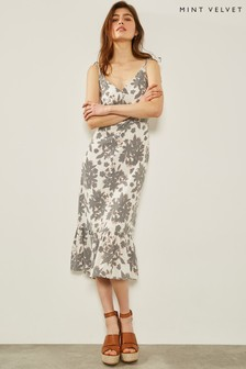 Sukienka z marszczonym dołem Mint Velvet Suki, z nadrukiem