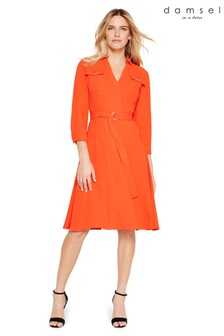 Damsel In A Dress Orange Ennis Trench Dress