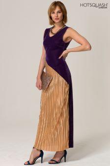 HotSquash Purple Velvet Pleat Maxi Dress