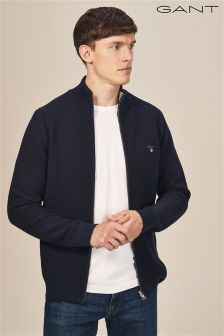 Gant Navy Triangle Textured Full Zip Knit Cardigan