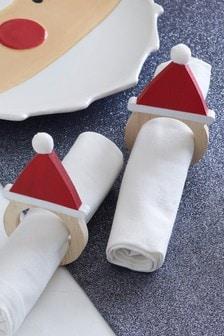 Set of 2 Santa Napkin Rings