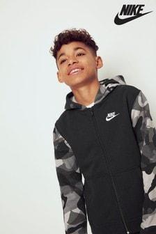Толстовка на молнии с капюшоном и камуфляжным принтом Nike