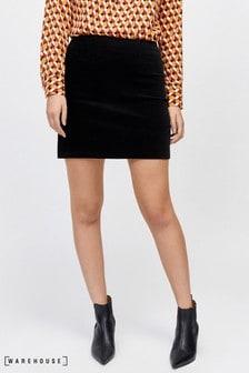 Warehouse Black Velvet Skirt