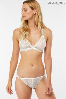 Accessorize Cream Madeline Lace Brazilian Brief