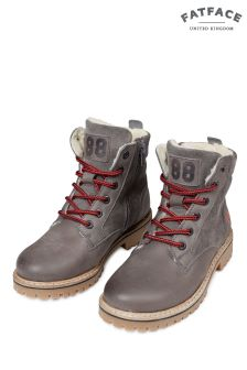 FatFace Grey Suede Leather Mix Lace-Up Boot