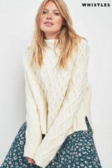 Whistles Ivory Cable Knit Jumper
