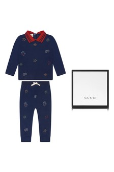 Baby Boys Navy Piquet Embroidered Polo And Trousers Set