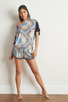 Scarf Print Woven Mix Short Set