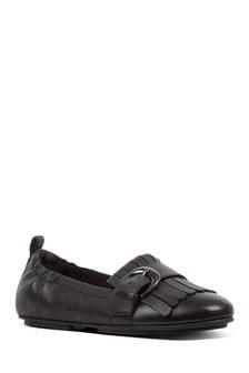 FitFlop™ Black Ally Fringe Ballerina Shoe
