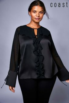 Coast Black Curve Alicia Dobby Top
