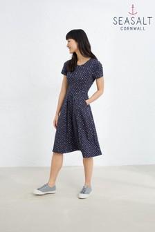 Seasalt Navy Polka Dot Waterline April Dress