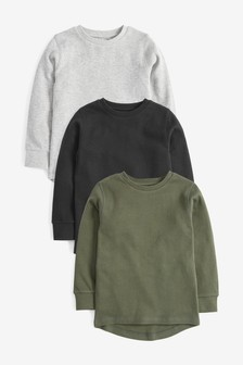 3 Pack Long Sleeve Textured T-Shirts (3-16yrs)